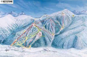 A map of Keystone ski area in Summit County, Colorado.