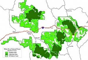 A map of roadless national forest lands in Colorado.