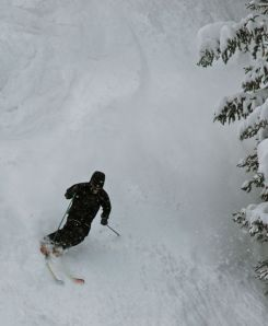 A skier at Arapahoe Basin, in Summit County, Colorado.