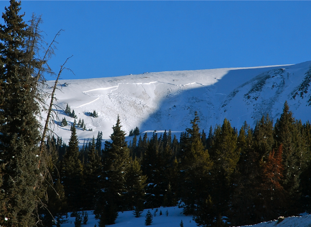 An avalanche near Vail Pass, Colorado.
