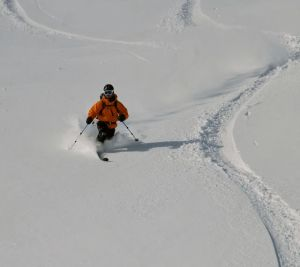 Spring powder skiing at Arapahoe Basin in Summit County, Colorado.