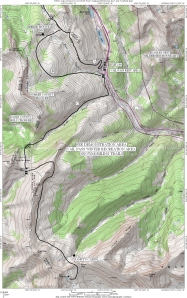 Map of the Vail Pass winter recreation area in Summit County, Colorado.