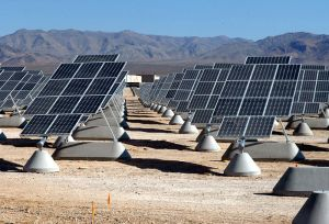 A photovoltaic array at Nellis Air Force Base in Nevada.