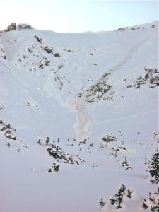 Avalanche in the Tenmile Range near Frisco, Colorado.