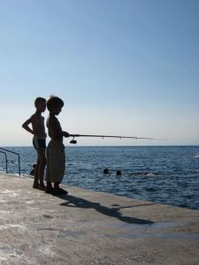 Fishing in Piran, Slovenia.