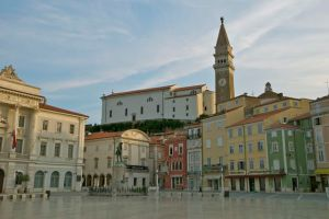 The main town square in Piran, Slovenia