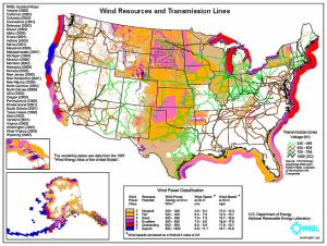 A map from the National Renewable Energy Laboratory shows areas with the potential for windpower and the associated transmission grid.