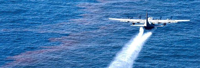 Dispersant being applied to the Gulf of Mexico.