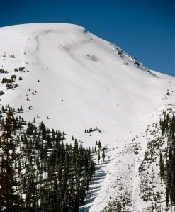 The Professor is another popular sidecountry ski run often accessed via car shuttles along Loveland Pass. Click on the inage for a full size view to see the ski tracks and the marks from avalanche blasting.