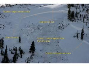 A visual diagnosis of the deadly Dec. 5 avalanche in Dry Gulch, near the Eisenhower Tunnel. PHOTO COURTESY CAIC, TEXT ADDED BY CAIC FORECASTER SCOTT TOEPFER.