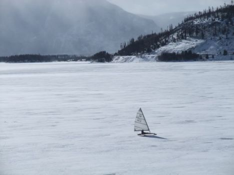 Ice sailing, Dillon Reservoir, Summit County, Colorado.