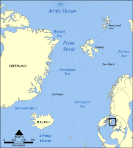 The Fram Strait is a key link in the global ocean circulation system, as the passage for most of the Arctic sea ice exiting the region.