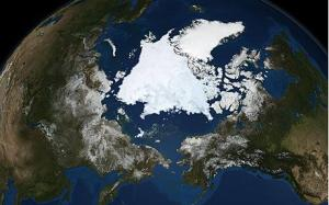 A NASA satellite image shows Arctic sea ice.
