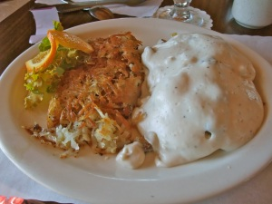 The best breakfast was this plate of biscuits and gravy at the pet-friendly Fountain Inn motel in Newcastle, Wyoming.