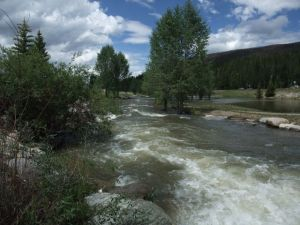 Runoff and rainstorms have combined to keep flows high in the Blue River.