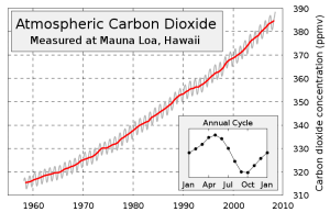 Atmospheric CO2 levels measured at Mauna Loa.