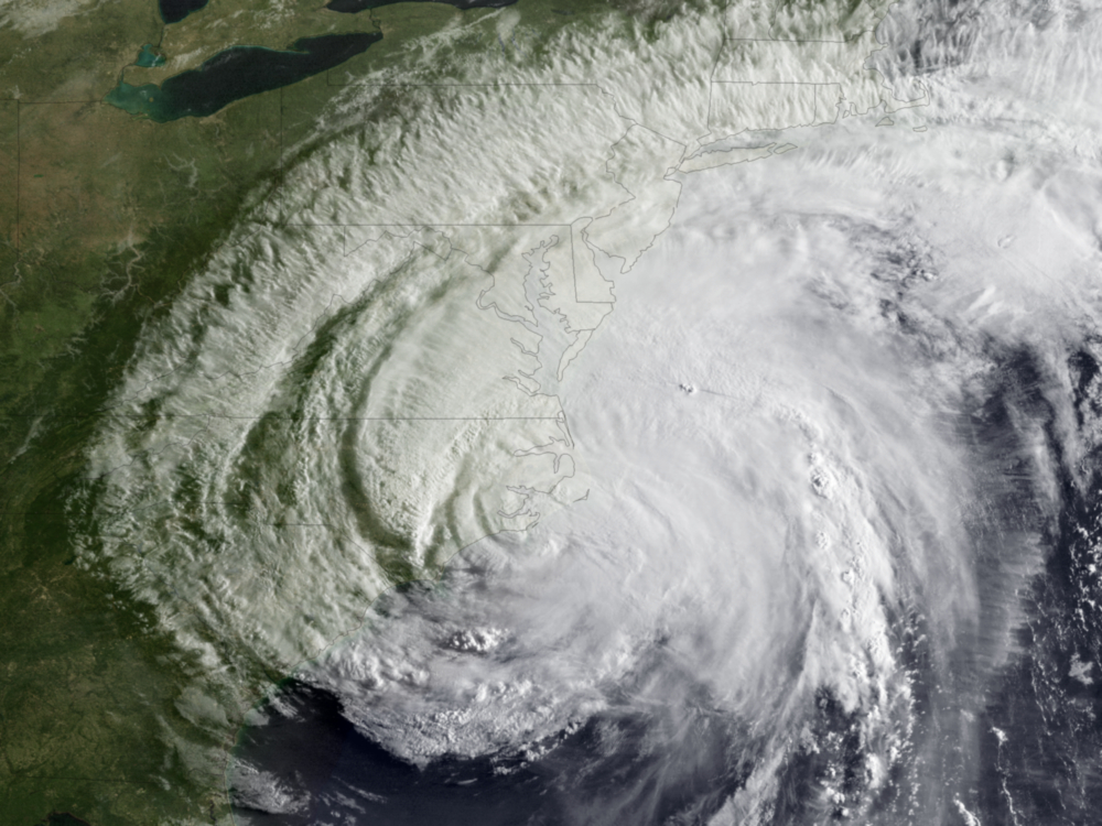 Hurricane Irene makes landfall August 27 2011 in North Carolina