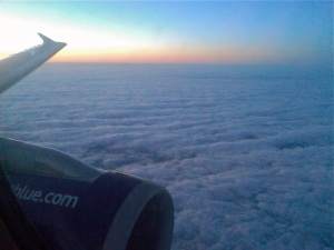 Twilight above Boston from a Jet Blue airliner.