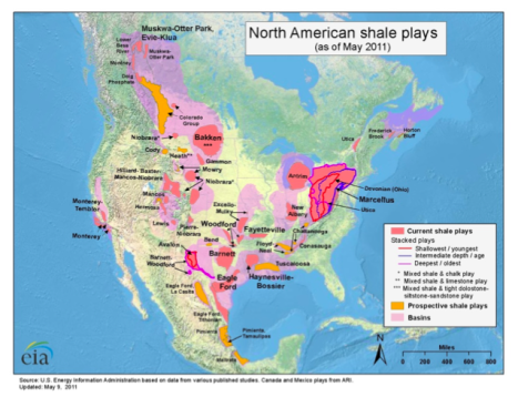Map of shale gas plays in United States
