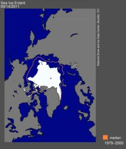 Arctic sea ice receded to the second-lowest extent on record this year. MAP COURTESY NATIONAL SNOW AND ICE DATA CENTER.