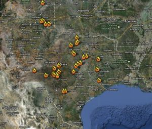 Texas wildfires map.