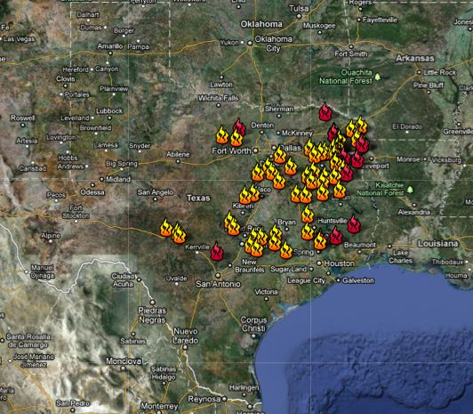 Sept. 6 Texas wilfire locations map