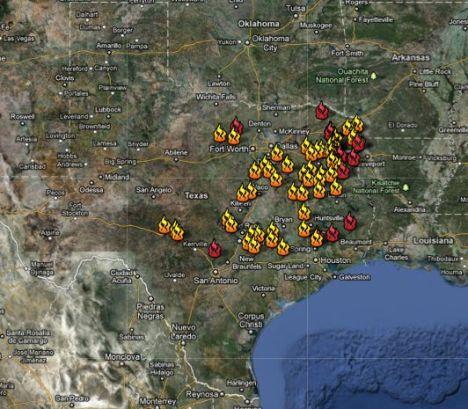 Sept. 6 Texas wilfire locations map