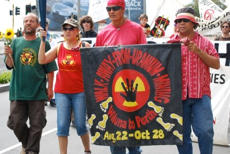 A group of marchers in Australia are trying to prevent any new uranium mines from opening.