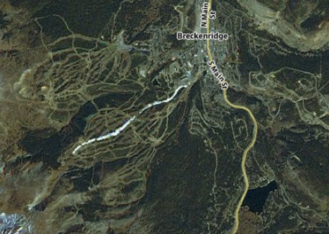 Breckenridge ski area seen from a NASA satellite, with one snow-covered trail.