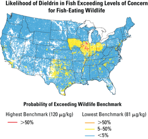 This map shows areas where levels of pesticide-related compounds are reaching thresholds that are dangerous to fish. Interestingly, most of the witnesses who testified against EPA pesticide regulations are from these same areas.