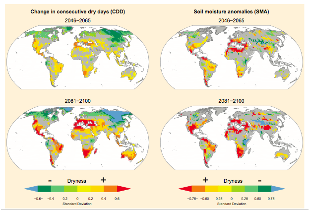 Researchers expect drought to become frequent and last longer. MAP COURTESY IPCC.