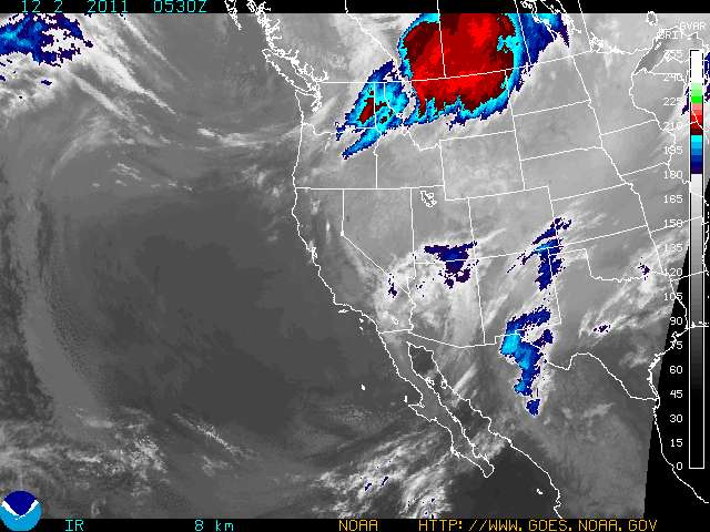 Recent satellite images show a classic split-flow pattern that does not favor Colorado with snow. A big chunk of storm energy is moving through western Canada, with a secondary system passing through Arizona and New Mexico.