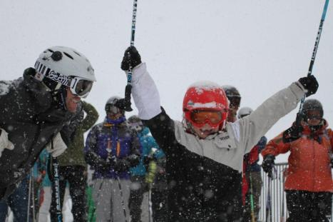 Skiers and riders celebrate at Crested Butte. PHOTO COURTESY CSCUSA/CHRIS SEGAL.