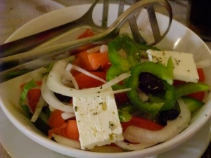 A classic Greek salad in Corfu.