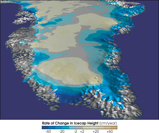 Click on the image for more information on Greenland's rapidly thinning ice cap.