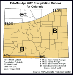 Better than even chances for below normal precipitation in late winter and spring, according to NOAA's Climate Prediction Center.