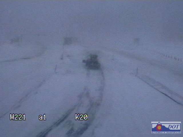 Near whiteout conditions along I-70 at the Eisenhower Tunnel Thursday at 7 a.m..