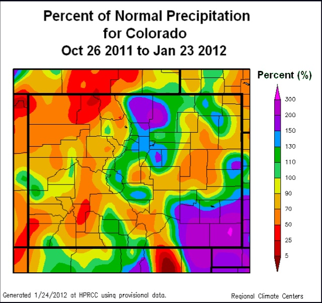 An interesting seasonal precipitation picture in Colorado.