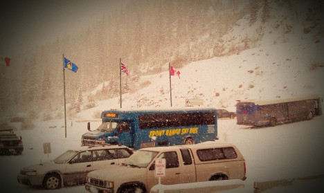 The Front Range Ski Bus at A-Basin on a snowy day. PHOTO COURTESY FRONT RANGE SKI BUS.