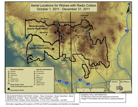 The latest wolf-location map from Arizona and New Mexico.