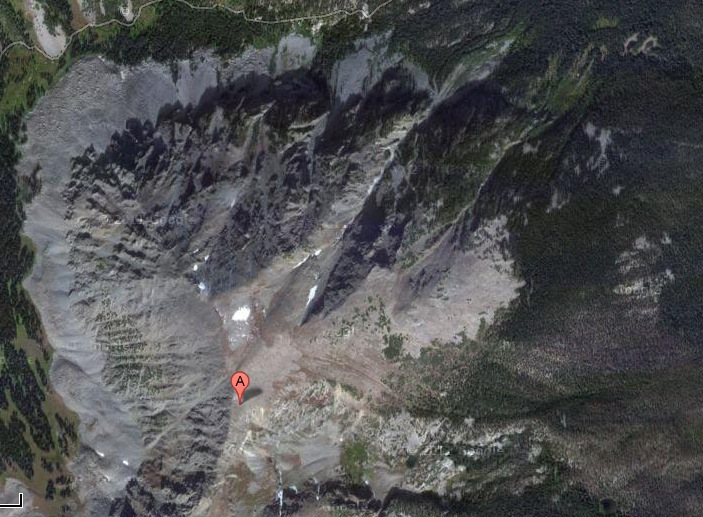 A Google maps view from directly above the summit of Buffalo Mountain shows the Silver Couloir as a deep cleave on the mountain's northeast flank.