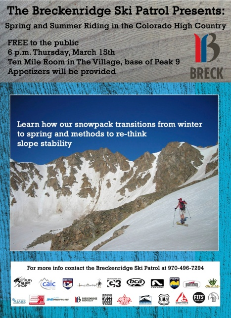 Public service avalanche presentation from the Breckenridge Ski Patrol.