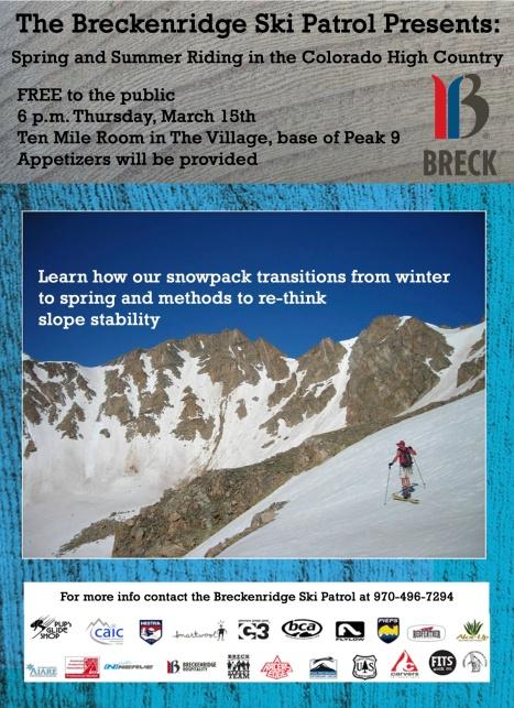 Public service avalanche presentation from the Breckenridge Ski Patrol.