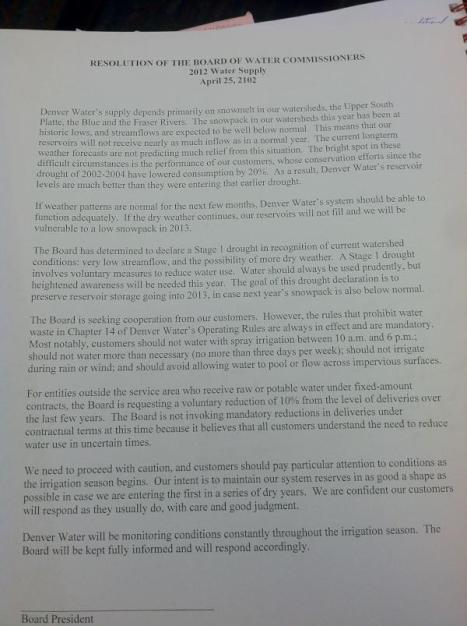 A Denver Water resolution declaring a Stage 1 drought. Twitpic courtesy Drew Beckwith, Western Resource Advocates.