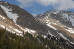 The central avalanche chute is the summer standard trail to reach tree-line.  Ice in the avalanche chute to the north created a fast slide to the boulder patch below.