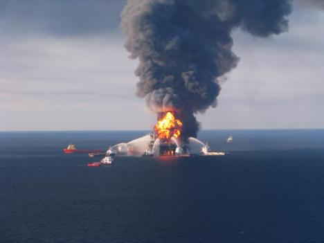 The Deepwater Horizon oil drilling platform after the April 2010 explosion. PHOTO COURTESY U.S. COAST GUARD.