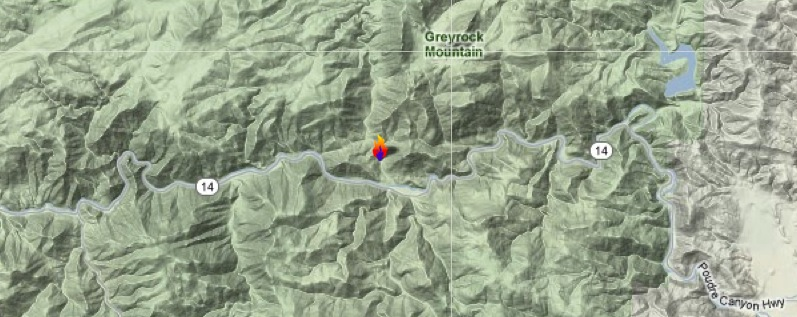 Hewlett Fire map in Poudre Canyon