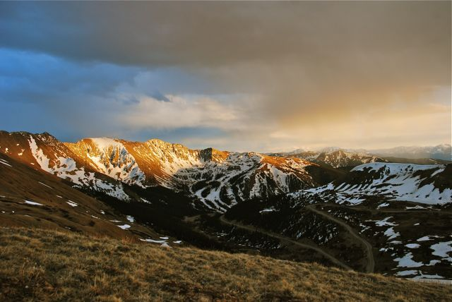 Looking toward A-Basin from Loveland Pass on during the eclipse sunset.