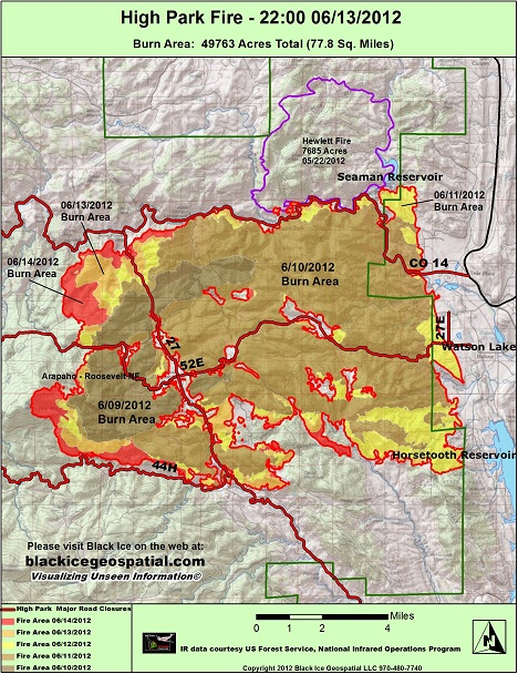 High Park fire map June 15.