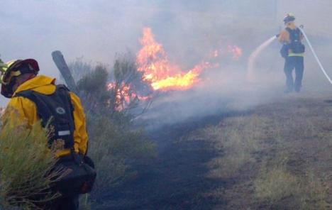 Firefighters at the High Park Fire in Larimer County work to protect structures. PHOTO COURTESY INCIWEB.